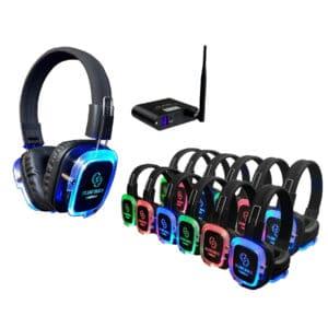 silent disco koptelefoons huren draadloze accu zender